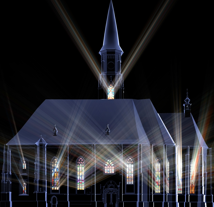Videoproiectia live spectaculoasa pe latura sudica a Bisericii Sfantul Mihail din Piata Unirii
