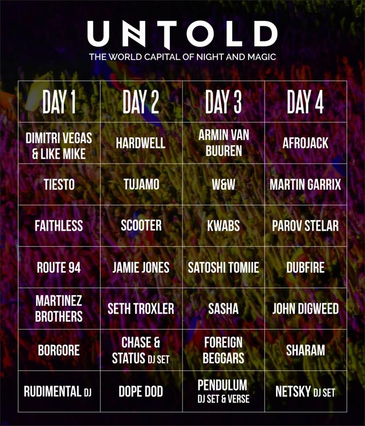 Programul pe zile la UNTOLD Festival 2016