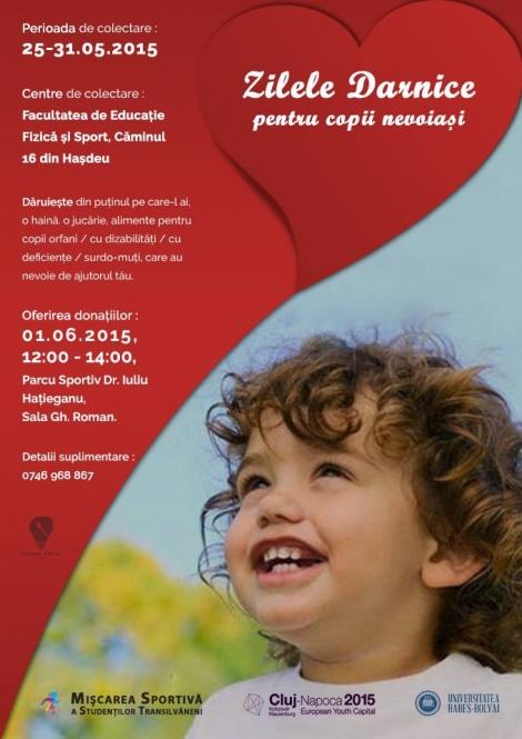 """Doneaza si tu in cadrul campaniei de responsabilitate sociala """"Zilele darnice pentru copii nevoiasi""""!"""