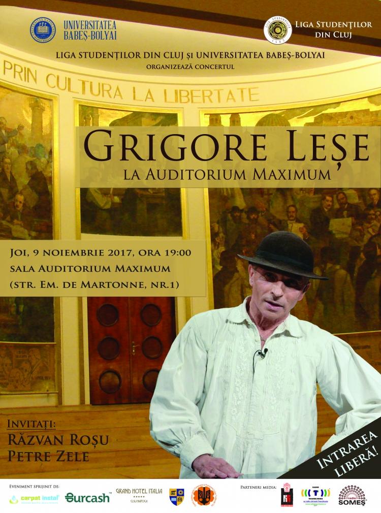 Concert cu intrare libera sustinut de Grigore Lese