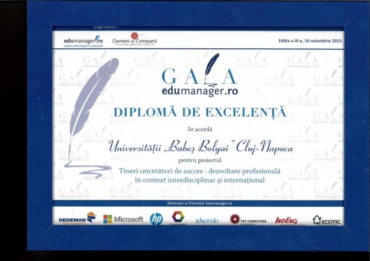 UBB a primit diploma de excelenta la Gala Premiilor edumanager.ro