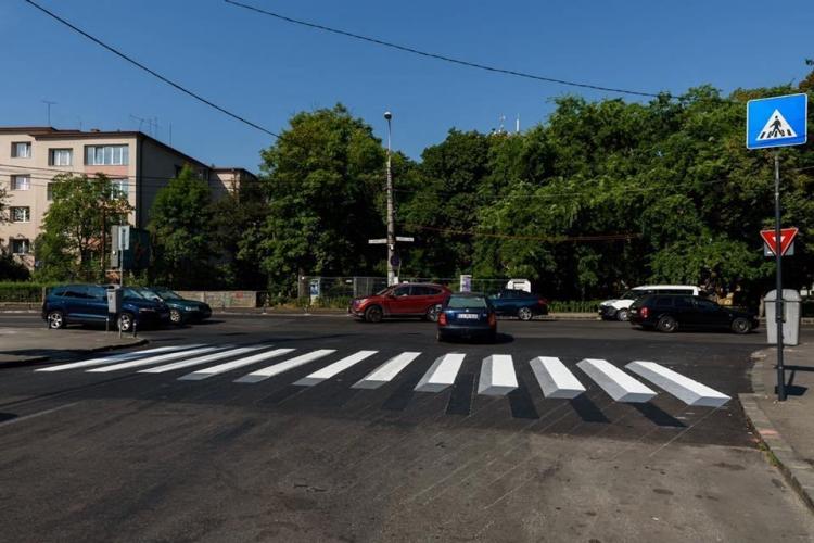 Clujul are primele treceri de pietoni cu marcaj orizontal 3D