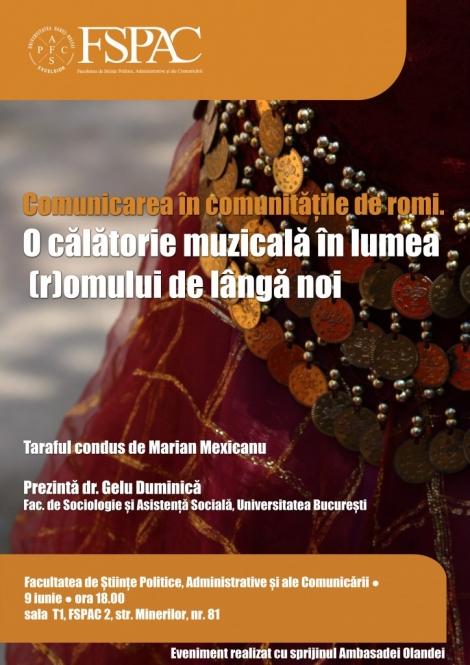 """FSPAC te invita la conferinta """"Comunicarea in comunitatile de romi. O calatorie muzicala in lumea (r)omului de langa noi"""""""