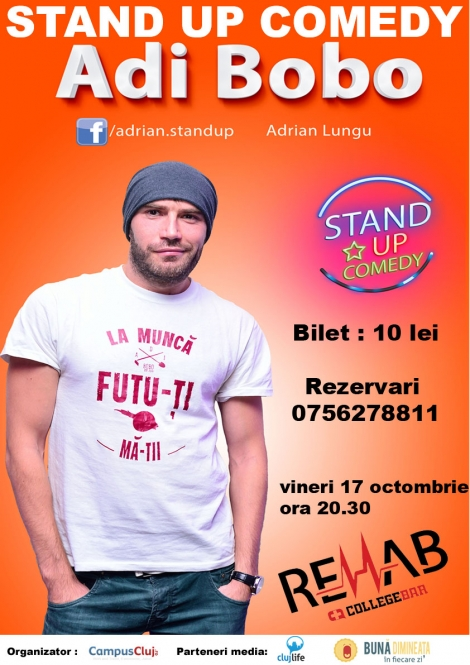 Stand up comedy cu Adi Bobo @ 17 octombrie Rehab College Bar