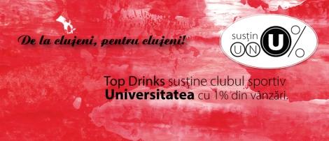 1% din vanzarile Top Drinks vor fi donate catre Clubul Sportiv Universitatea Cluj