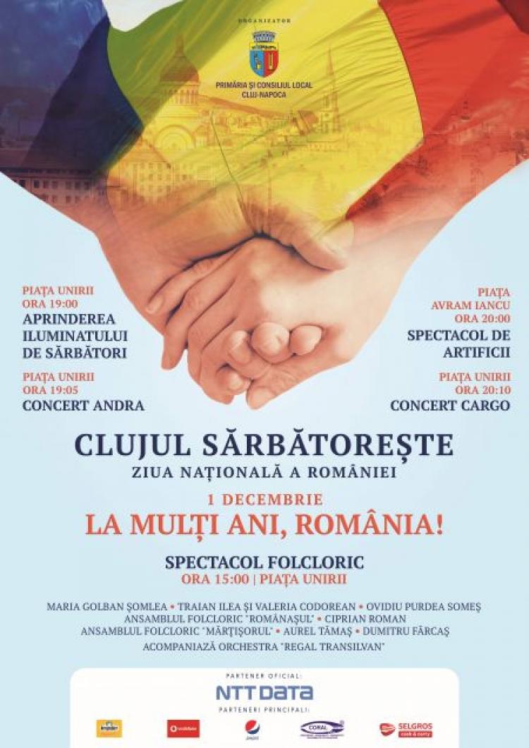 Programul de 1 Decembrie 2017 – Clujul sarbatoreste Ziua Nationala a Romaniei cu mult fast