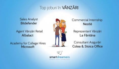 Joburi de top in VANZARI pe platforma Smartdreamers