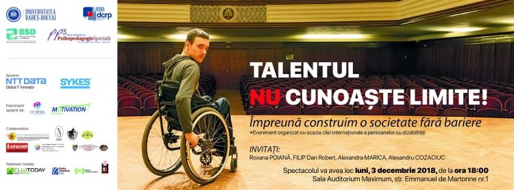 """Spectacolul """"Talentul nu cunoaste limite!″ va avea loc luni la UBB"""