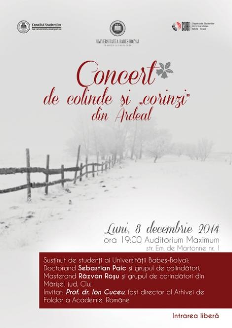 "UBB organizeaza concert de colinde si ""corinzi"" din Ardeal"