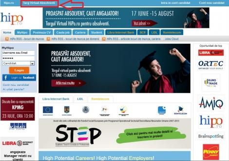 Pana pe 15 august cei care vor sa se angajeze pot accesa Targul Virtual Hipo.ro pentru absolventi