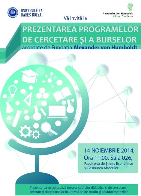 Fundatia Alexander von Humboldt acorda burse si finanteaza programe de cercetare