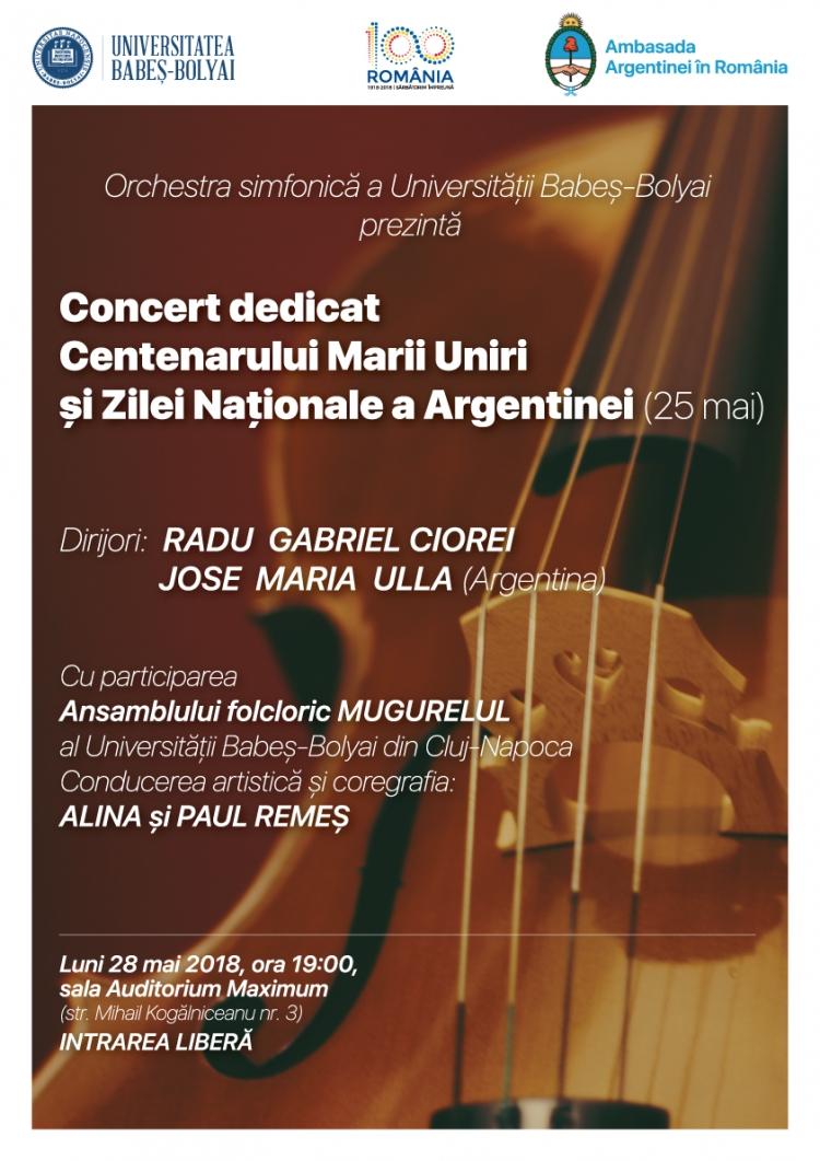 Concert extraordinar dedicat Centenarului Marii Uniri si Zilei Nationale a Argentinei