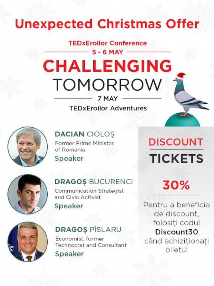 Reducere de 30% pentru TEDxEroilor Challenging Tomorrow