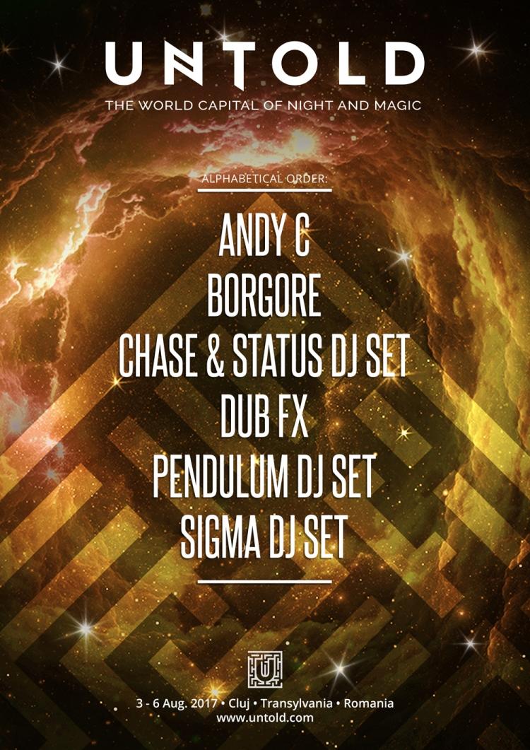 Borgore, Chase&Status DJ Set, Dub FX, Pendulum DJ Set, Sigma DJ Set si Andy C formeaza o noua constelatie din universul UNTOLD 2017