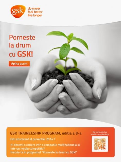 """Participa la traineeship-ul """"Porneste la drum cu GSK!"""""""