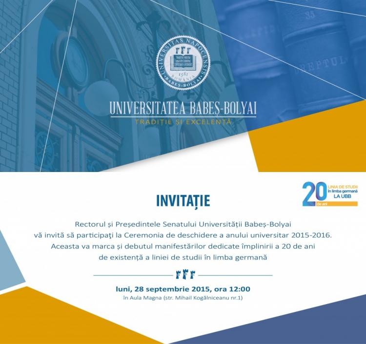 UBB incepe anul universitar de luni. Participa si tu la ceremonia de deschidere!