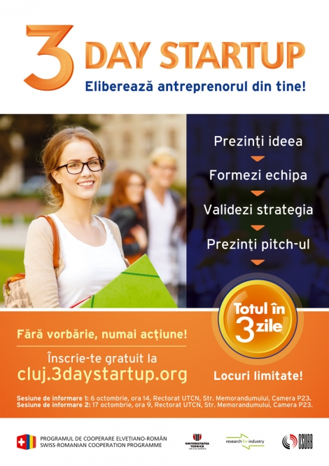 "Sustine antreprenorul din tine: participa la ""3 Day StartUp"""