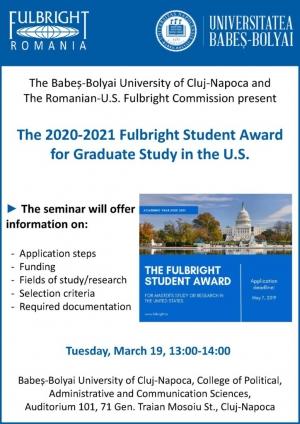 Vrei sa iti continui studiile in SUA? ---> Participa la prezentarea programului Fulbright Student Award 2020-2021